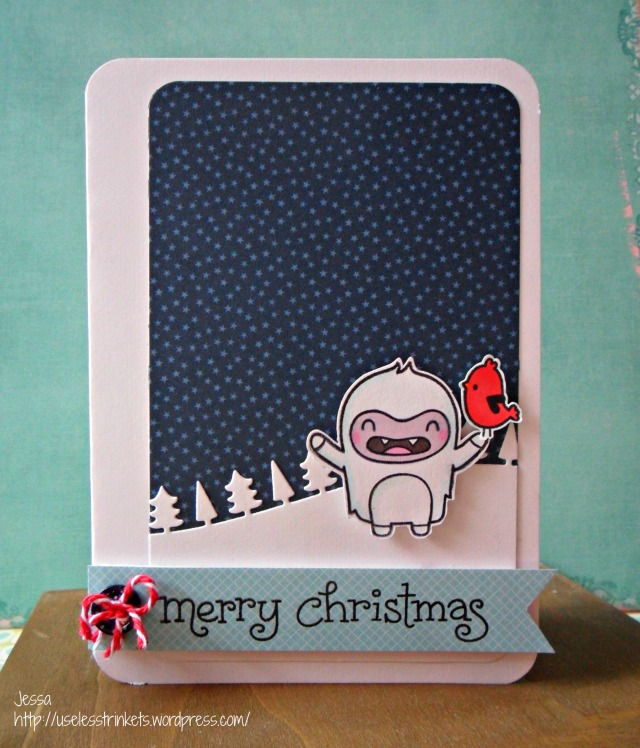 Stempelküche Challenge #20 Mainachten - Christmas in May Lawn Fawn Yeti, Set, Go! Joy to the Woods christmas card stars