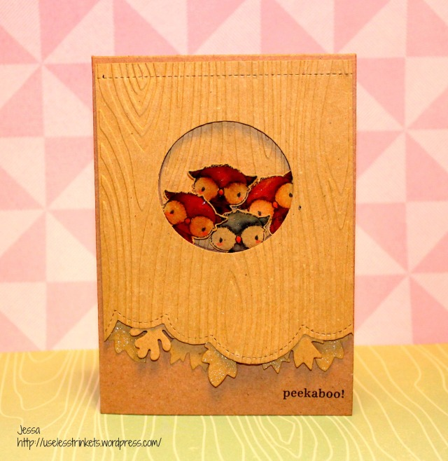 Peekaboo craft card using Stacey Yacula Studio - Shadow (Owl) and Mama Elephant Just hatched forrest card